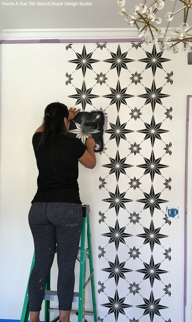 Seeing Stars: The BEST Way to Decorate Your Walls - Learn How To Stencil VIDEO Tutorial - Royal Design Studio Wall Stencils for Painting DIY Decor