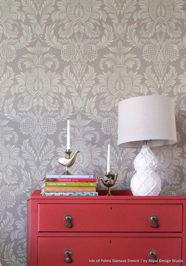(Video Tutorial) How to Stencil 101: How to Stencil an Accent Wall with Chalk Paint and Damask Wall Stencils