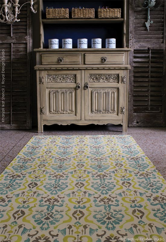 Stenciled Floorcloth inspiration with Khanjali Ikat Stencil from Royal Design Studio