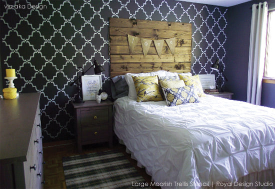 Stencil Ideas for Guest Room Feature Wall
