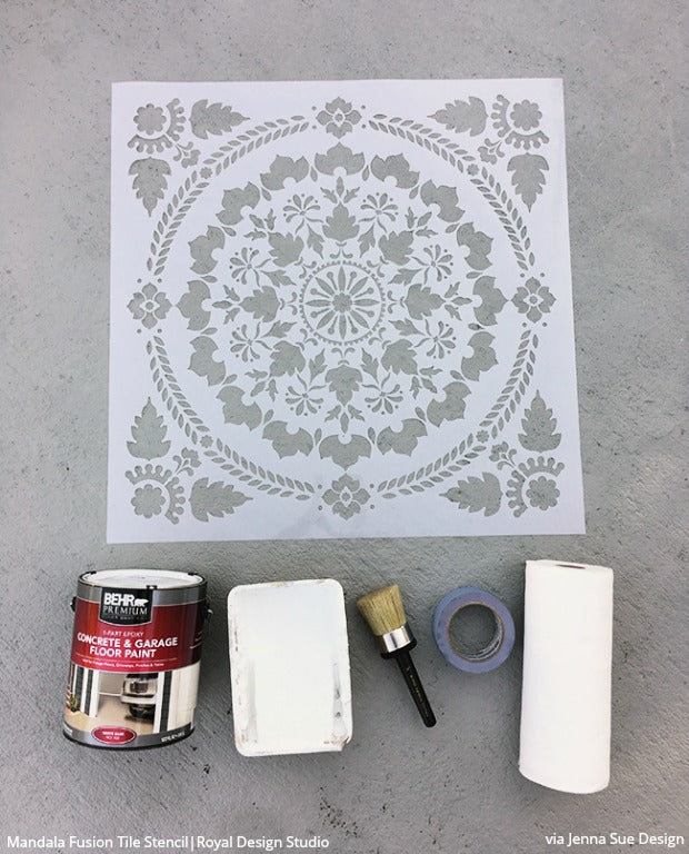 How to Stencil & Paint a Concrete Patio Floor with Royal Design Studio Floor Stencils & Tile Stencils - DIY Decorative Concrete Porch Floor Pattern Painting Stencils