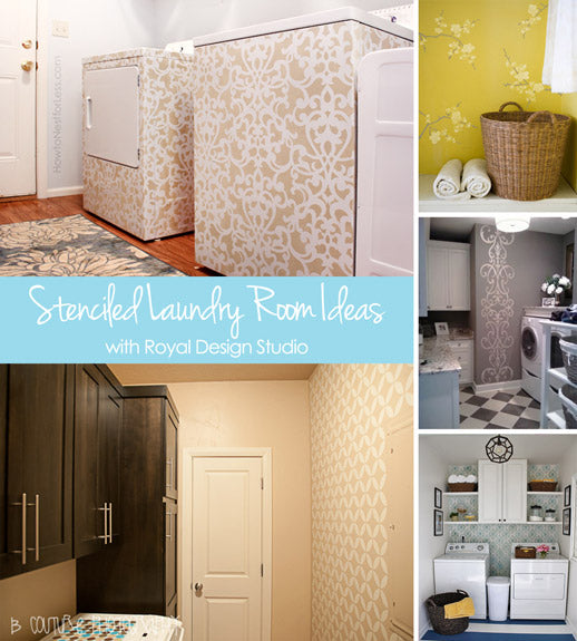 Stenciled Laundry Room Ideas with Royal Design Studio Stencils
