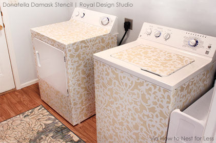 Surprise! Stenciled Washer and Dryer Set | Donatella Damask Stencil from Royal Design Studio