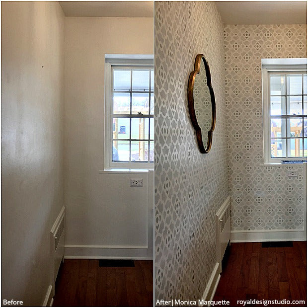 Before & After Stenciled Decor You Won't Believe are DIY! 30 Painting Projects on Walls, Floors, and Furniture using Royal Design Studio Stencil Patterns