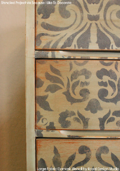Large Fabric Damask Stencil on Distressed Furniture | Royal Design Studio