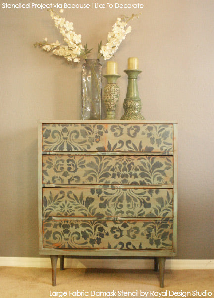 Large Fabric Damask Stencil and Chalk Paint decorative paint used to refinish a dresser | Royal Design Studio