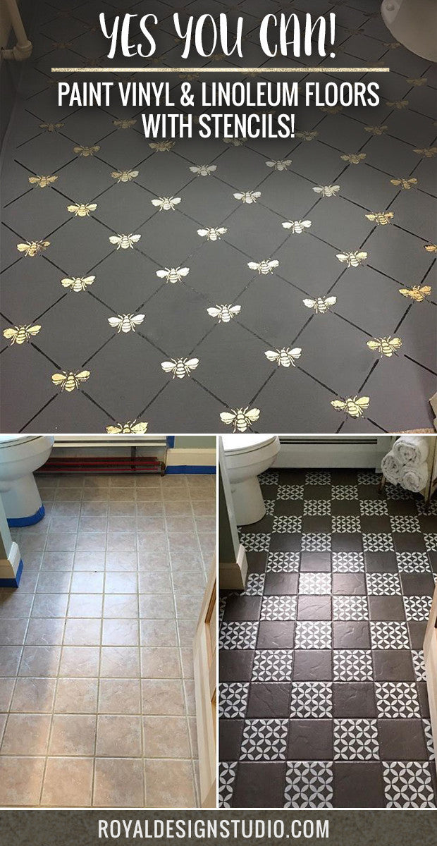 paint vinyl linoleum with floor stencils 8 diy decor ideas royal design studio stencils. Black Bedroom Furniture Sets. Home Design Ideas