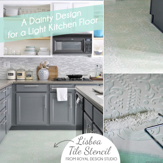 How To Stencil A Linoleum Kitchen Floor With The Lisboa