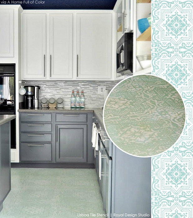 Paint vinyl linoleum with floor stencils 8 diy decor for Can linoleum be painted