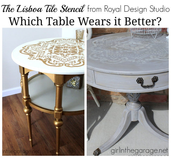 Royal Design Studio's Lisboa Tile Stencil: 1 Stencil 2 Different Looks! - Gold Glam or Distressed Gray? #chalkpaint #stencils #paintedfurniture #furnituremakeover #furnitureupdate #furniture #diy