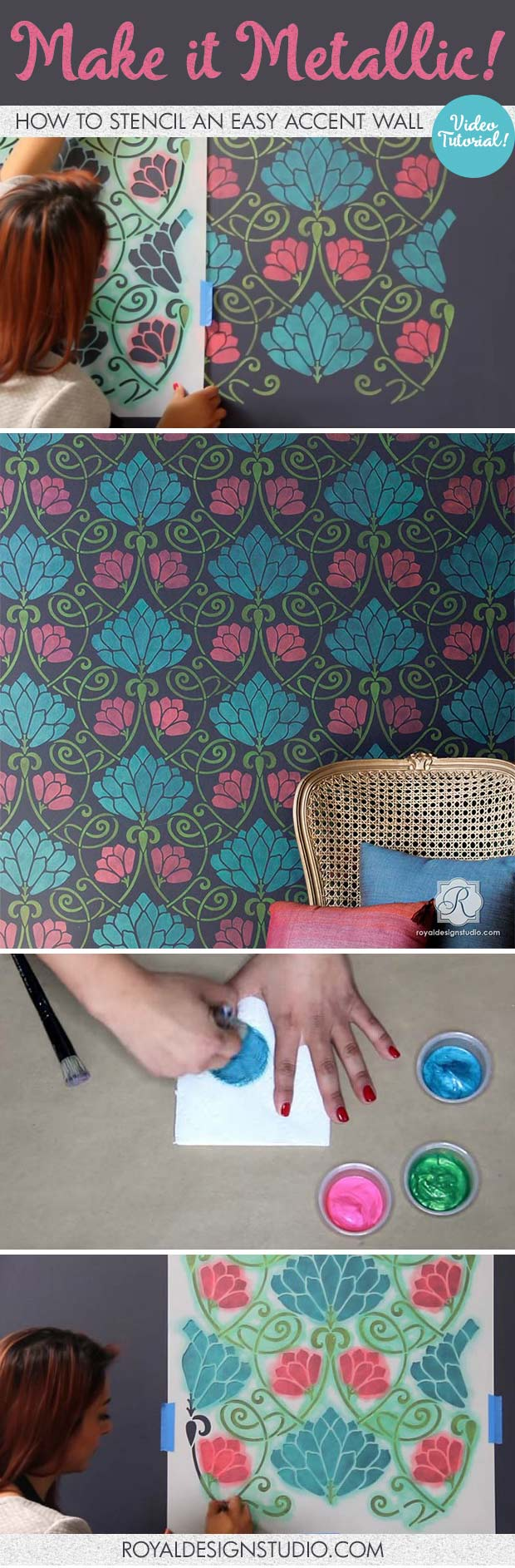 VIDEO Tutorial - How to Stencil an Easy Accent Wall with Metallic Paint - Flower Wall Stencils by Royal Design Studio