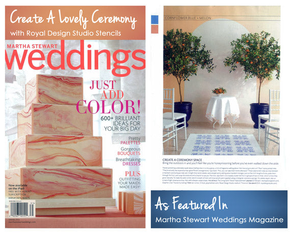 Martha Stewart Weddings shows how to create beautiful wedding ceremonies and features Royal Design Studio Stencils