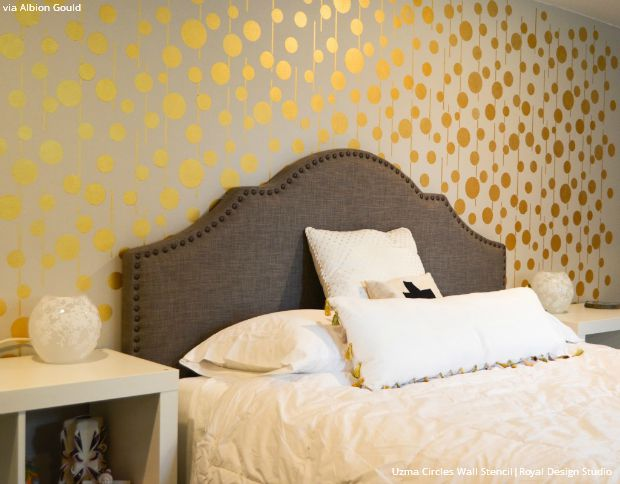 Gold Wallpaper Wall Stencils - DIY Ideas for Metallic Home ...