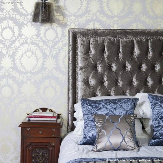 Stencil Your DIY Wall Decor with Suzani Fabric Designs - 16 DIY Ideas using Large Suzani Pattern Wallpaper Wall Stencils - Boho Chic to Exotic to Glam