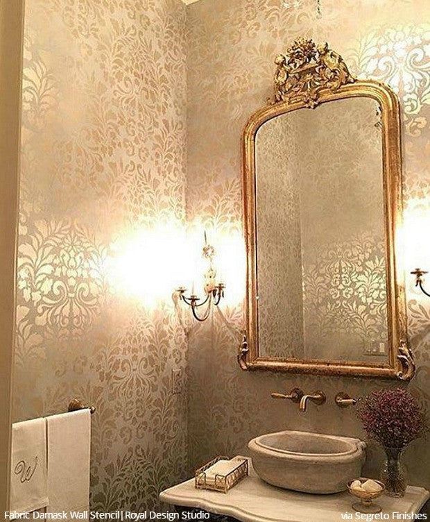 Genial Wall Stencils: The Secret To Remodeling Your Bathroom On A Budget   18 DIY  Decor