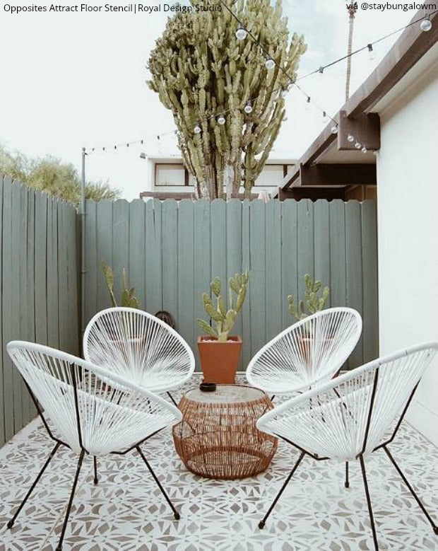 DIY Backyard Bliss: Renovate on a Dime with Concrete Floor Paint Stencils from Royal Design Studio - royaldesignstudio.com