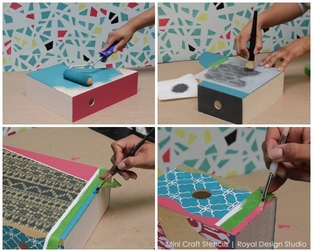 Does your office decor need a makeover? IKEA Hack: Stencil Stylish Storage with Mini Craft Stencils Tutorial from Royal Design Studio
