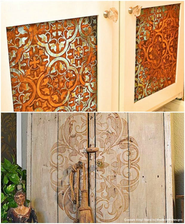 Kitchen Cabinet Door Painting: 20 DIY Cabinet Door Makeovers With Furniture Stencils