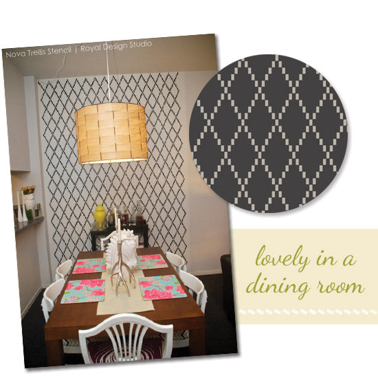Nova Trellis Stencil creates lovely dining room feature wall | Royal Design Studio