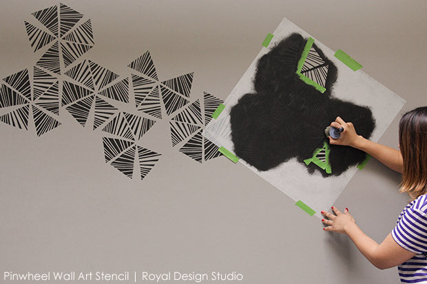 Painting and Stenciling a Modern Accent Wall - Stencil Tutorial and Video from Royal Design Studio