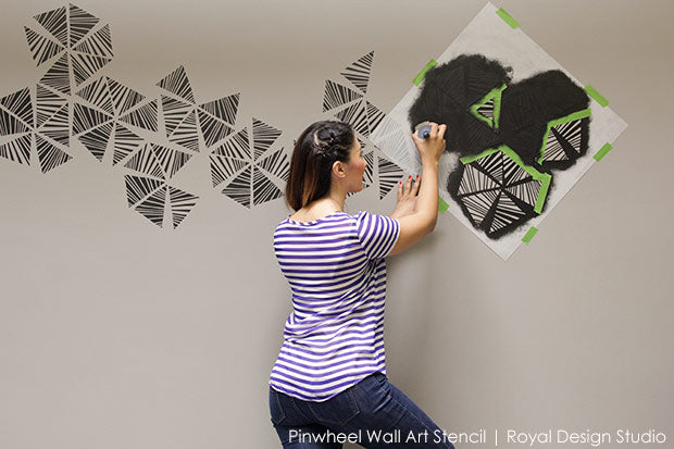 Decorating Office or Home with Trendy Modern Wall Art using Designer Stencils from Royal Design Studio - Tutorial and Video
