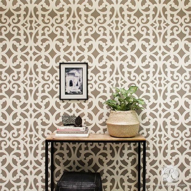 Fast & Fabulous: How to Stencil a Wall in Only 1 Hour! DIY Home Decorating Tutorial using Large Wall Stencils from Royal Design Studio