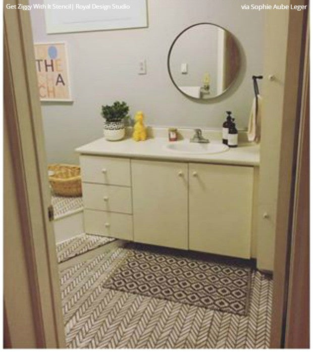 Paint vinyl linoleum with floor stencils 8 diy decor for Paint for linoleum floors in bathroom