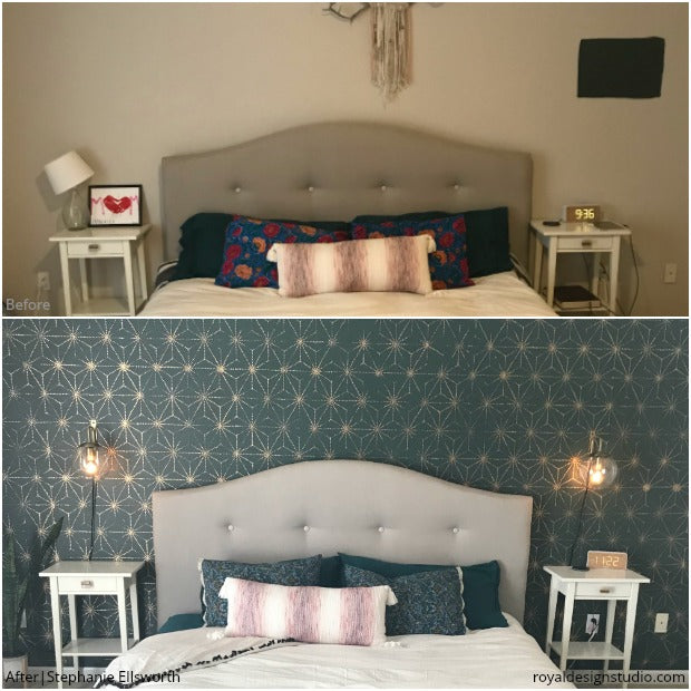The PRETTIEST and BEST Before & After Room Makeovers using Stencils from Royal Design Studio - Wall Stencils, Floor Stencils, and Furniture Stencils for Painting and Decorating DIY Home Decor