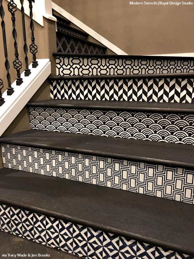 Simple To Sensational: 12 Stencil Ideas For Your Stairs   Painted Stair  Risers Using Moroccan
