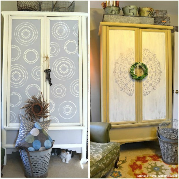 Captivating 20 DIY Cabinet Door Makeovers And Painting Ideas With Furniture Stencils  From Royal Design Studio
