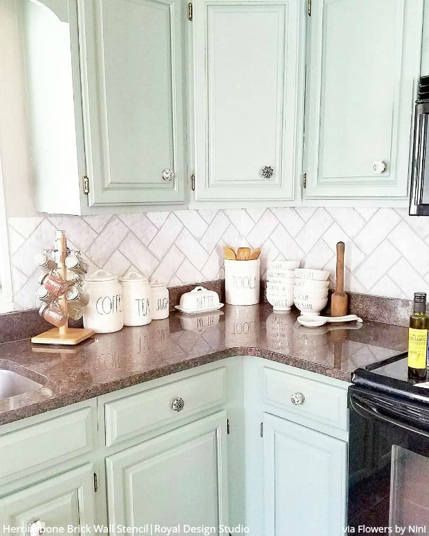 enchanting faux brick backsplash kitchen | DIY Idea: Stencil a Faux Brick Wall or Subway Tiles