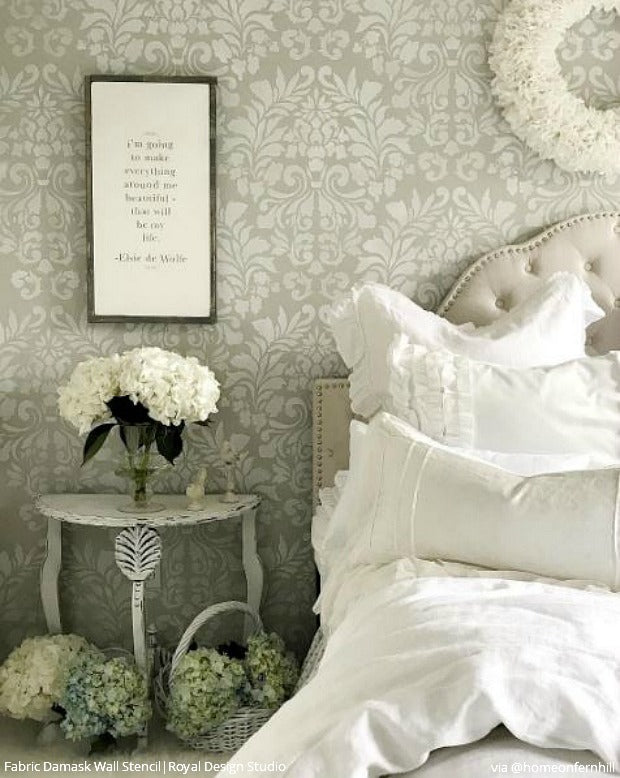 Stencil Your Bedroom Walls with a Classic Damask Wallpaper Look - French Country Farmhouse Style Bedroom Makeover by Home on Fern Hill - Fabric Damask Wall Stencils by Royal Design Studio