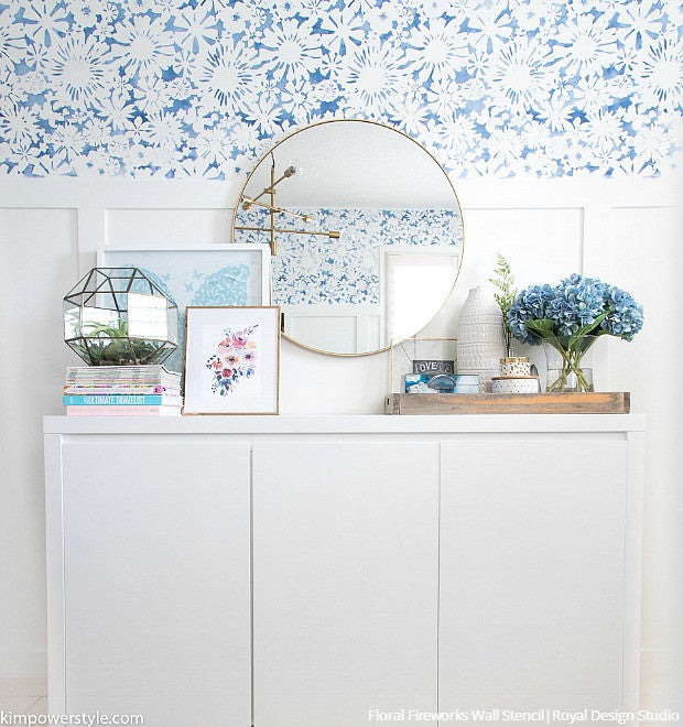 Blue and White Modern Farmhouse Style Home Office Makeover with Flower Wall Stencils - Royal Design Studio