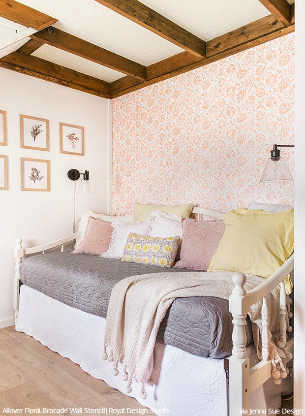 Before and After: Stenciling a Cottage Bedroom Makeover with Royal Design Studio Floral Wall Stencils