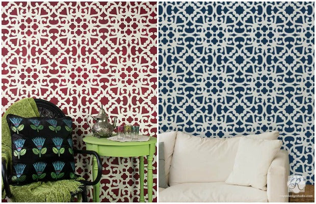 4 DIY Decor Ideas - Make Your Home Modern or Moroccan with these Lace Stencils from Royal Design Studio