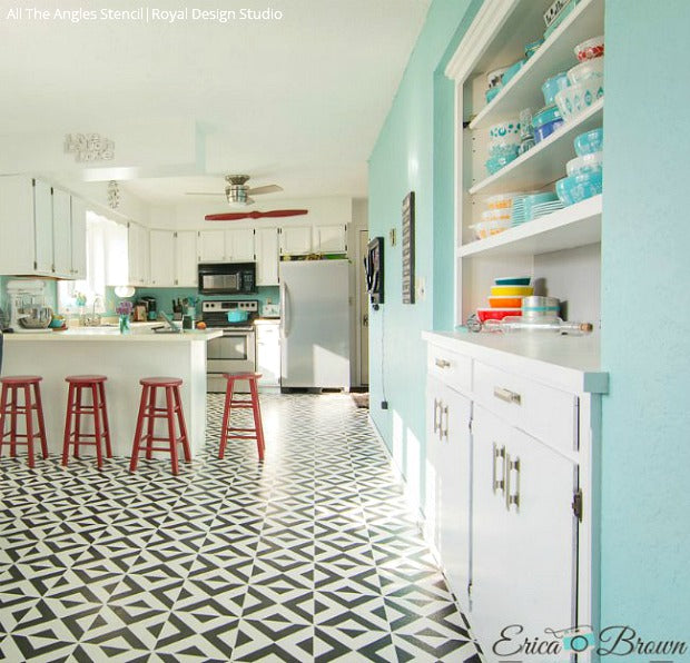 Painted Tile Floor Stencils That Anyone Can Do! 16 DIY Decorating Ideas For  Floor Remodeling