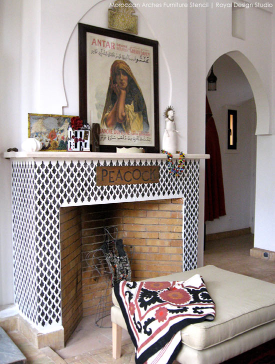 Faux tile stencil ideas for a fireplace surround | Royal Design Studio