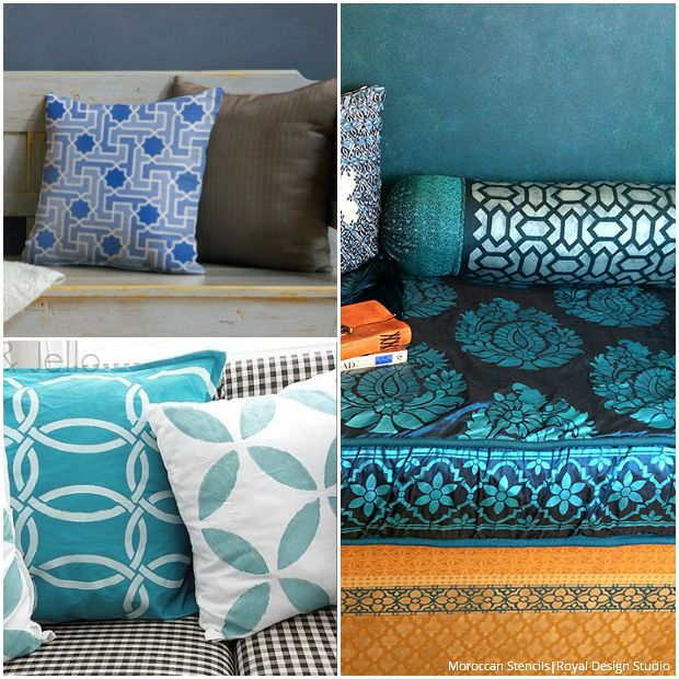 Stenciled Pillows for Every Style - Exotic Moroccan Fabric Stencils by Royal Design Studio