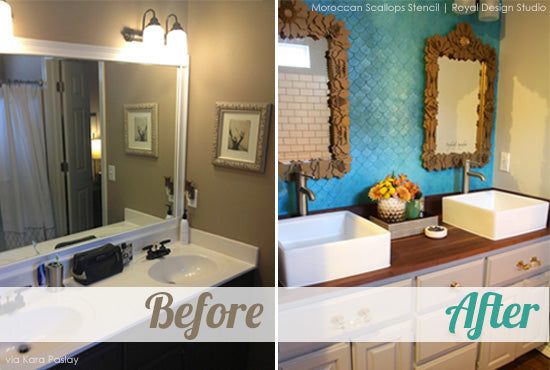 Stenciled bathroom before & after. Iridescent blue fishscale pattern.