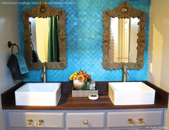 Stenciled blue bathroom using the Moroccan Scallops Stencil to create a beatufiul mermaid tale effect!