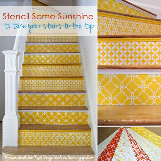 stenciled stairs with Moroccan stencils