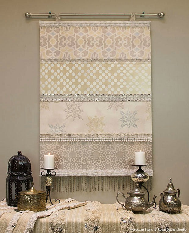 Stencil How To: DIY Moroccan Wedding Blanket for a Winter Wall Hanging