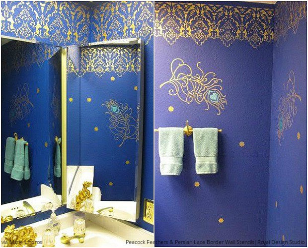 Pretty as a Peacock: Strut Your Stencil Style - 10 DIY Decorating Ideas using Peacock Feathers Wallpaper Wall Stencils from Royal Design Studio