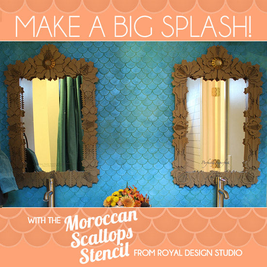 Beautiful blue bathroom wall with Moroccan Scallops wall stencil | Royal Design Studio