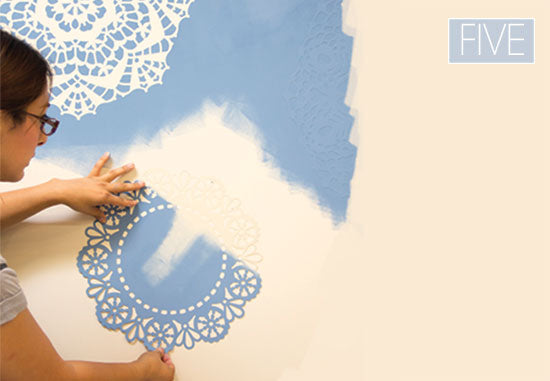 Roller stenciling with Chalk Paint® decorative paint and lace stencils from Royal Design Studio