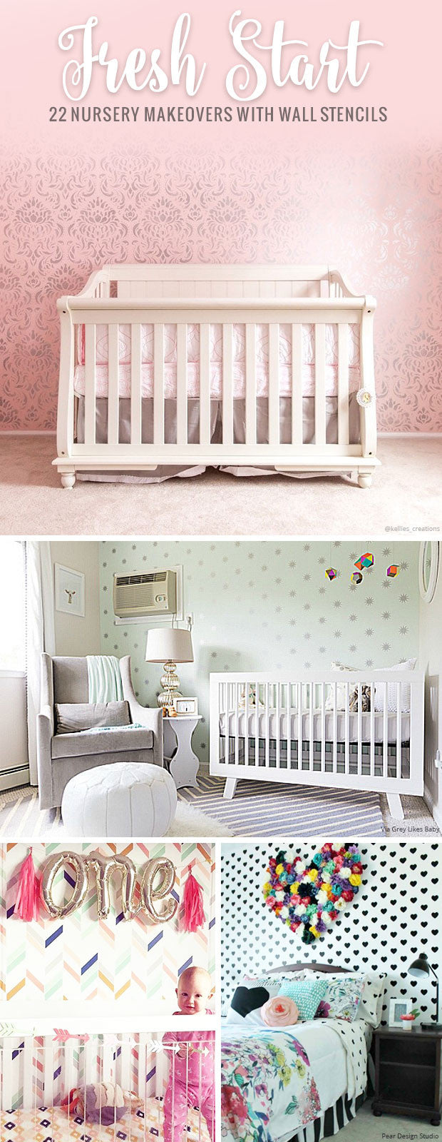 9 Nursery Makeovers with Wall Stencils - Colorful DIY Decor ...