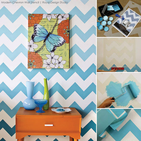 Modern Chevron Wall Stencil in Blue Ombre | Royal Design Studio
