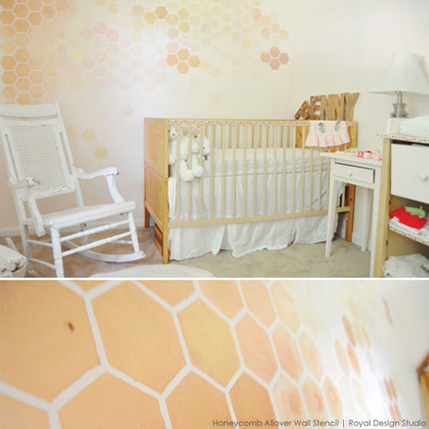 Homneycomb Ombre Stenciling in Nursery | Royal Design Studio