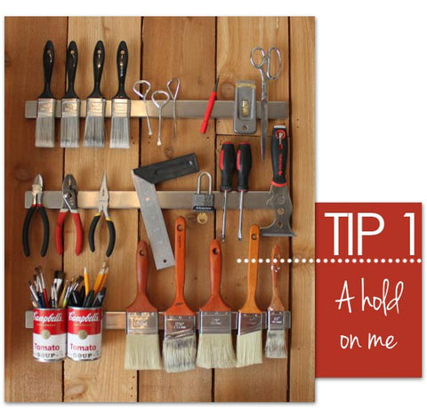 Magnetic racks for storing paint and stencil brushes