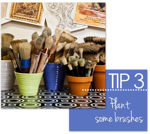 Stencil and paint brush storage and display from Royal Design Studio